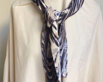 Wave purple violet hand printed velvet scarf one off