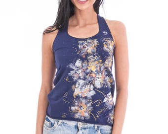 Hand painted cotton in dark blue vest for women with white, yellow and silver flowers