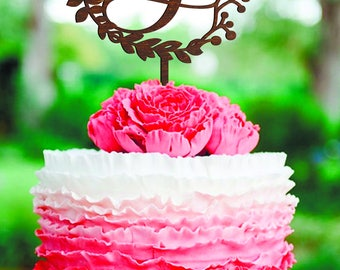 J cake topper Cake toppers for wedding Rustic cake topper J letter cake topper Cake toppers J Custom Cake Topper wooden cake topper wreath J