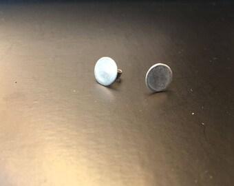 Handmade silver dot earrings