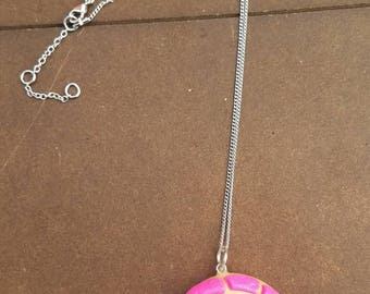 Pink concha pan dulce necklace