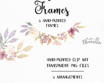 6 Watercolour Frame Clipart - Pretty Pink Hand Painted Green Spring INSTANT DOWNLOAD PNGs Leaf Garlands Wreaths Flower Purple Leaves Digital