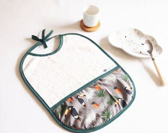 Bib 0-36 months, pelicans and pineapple, birthday gift