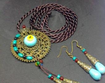 Boho necklace, Bohemian necklace, long statement necklace,gift,collier bohème, collier vintage,collier pierres, sautoirs,chain, long collier