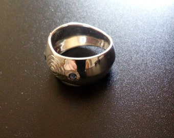 large geometric silver ring