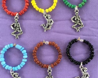 Grateful Dead Dancing Skeleton Wine Glass Charms  Hippie Wine Glass Charms
