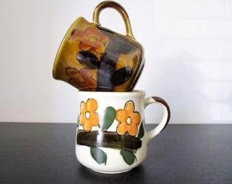 vintage coffee mugs // mismatched tea cups // flower coffee mugs // stoneware mugs // floral coffee cups // speckled mug // boho mugs