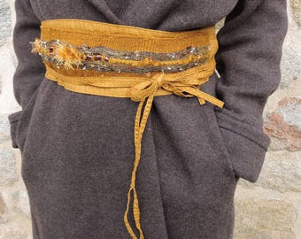 Gold belt woven, unique, hand-made for evening or coat dress