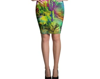 Cactus Printed Pattern Bright, Bold, Classic Pencil Skirt, Galaxy Cactus Skirt, Form Fitting High Waisted Skirt, Knee Length Skirt, Stretchy