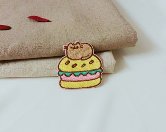 cute hamburger-iron on patch -embroidered patch -patch for jacket-girl patch -diy -applique