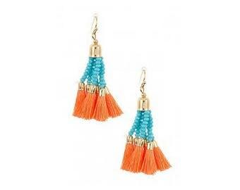 Tassel Earrings for Sensitive Ears, Hypoallergenic Tassel Earrings, Gold Earrings, Orange Earrings, Turquoise Earrings, Teal Earrings, Drop