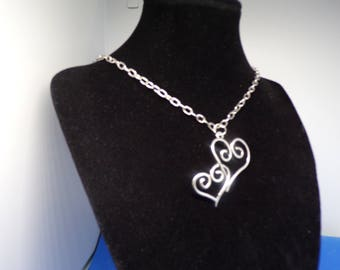 Silver plated necklace with double heart pendant