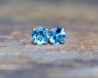 Swiss Blue Topaz Stud Earrings, 4mm Topaz and Sterling Silver Earrings, Gemstone Earrings, November Birthstone, Blue Stone, Gift for Wife