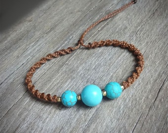 macrame bracelet, turquoise beads, 925 sterling silver 24K gold plated seed beads, glass beads