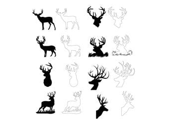 Deer Head Collection SVG Vector Download for Silhouette studio, Cricut, craft robo , SCAL, adobe illustrator.