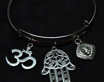 Meditation Expandable Bangle Charm Bracelet/Namaste/Yoga/Yoga Instructor/Jewelry/Gift for Mom/Mothers Day Gift/Mindfulness Bracelet/STYLE #2
