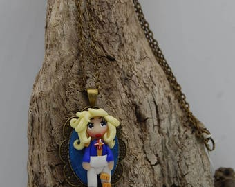 Lady Oscar necklace Manga figurine - the rose of Versailles - unique necklace with miniature polymer clay pendant