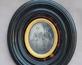 1850s French Ambrotype Portrait of Two Women - Mistress and Servant Handmaid Old Photography - Ebonite Wall Faux Tortoiseshell Frame