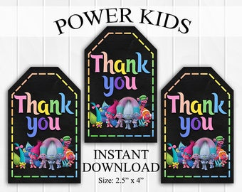 INSTANT DOWNLOAD Trolls Thank You Tags, Favor Tags, Party Favors, Printable DIY, Chalkboard