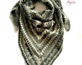 shawl crochet gray, handmade shawl, gray