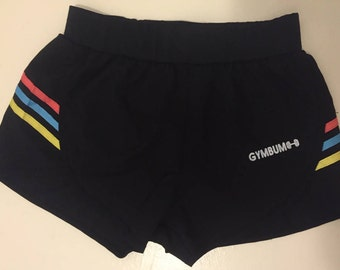 REDUCED PRICE CLEAROUT GymBum Black & Colour Stripes Workout Shorts *Misprinted Logo