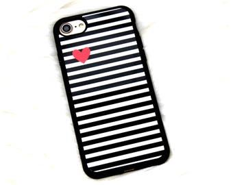 iPhone 7 TPU Soft Rubber Cell Phone Case, Black White Stripes Red Heart Case, Soft Silicone Case, Christmas Gift Under 10 For Teen Daughter
