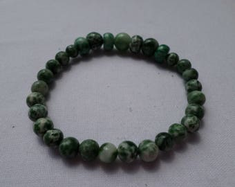Green Tree Agate Bracelet on Stretchy Jewelry Cord 7""