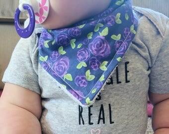 Navy and Purple Roses Bib - Floral Drool Bib - Cotton and Terry Bibdanna - Adjustable - Girls Bib - Dribble Bib - Fashion Bib