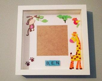 White Scrabble Frame Baby Boy Jungle, animals, nursery