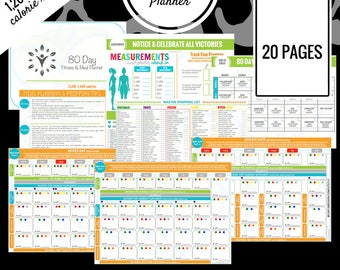 80 Day Fitness Planner | 1,200 - 1,499 Calorie Range | Printable Meal Planner | Meal Prep, Meal Plan, Grocery List & More!