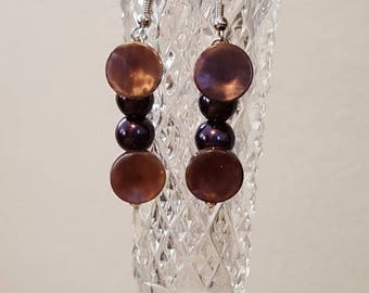 Vintage button jewelry,Handmade jewelry,Jewelry handmade,Vintage buttons,Pearls,Purple earrings,Handmade earrings,Earrings handmade
