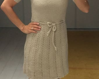 FRENCH CROCHET DRESS, laine, size 8, vintage, beige, hand made