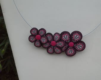 """Necklace polymer clay """"three flowers"""""""