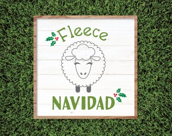 Fleece Navidad Shirt, Magnolia Market Christmas SVG, Stencil, Joanna Gaines, Cut File, Vector, Print, Fixer Upper, Magnolia Farms, Poster