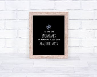 Christmas Printable, Snowflake Quote, Holiday Decor, Christmas Instant  Download, 8x10, Be