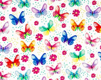 Butterfly Fabric By The Yard, Butterfly Material Colorful Fabric 100 % Cotton Fabric Quilting Fabric Apparel Fabric Girls Fabric Butterflies