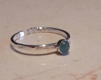 Green Aventurine gemstone sterling silver stacking ring, semi precious ring, green stone ring, dainty ring, stacking ring, adjustable ring