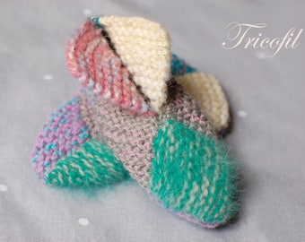 Hand knitted multicoloured baby booties