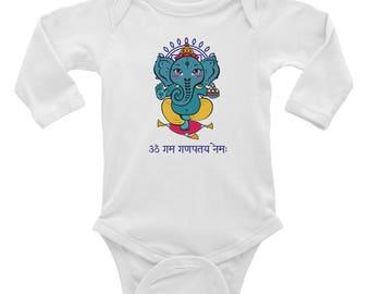 Ganesh with Sanskrit Mantra Infant Long Sleeve Bodysuit Onesie