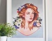 Flower girl art print, fl...