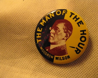 Vintage Political Campaign Woodrow Wilson Button made by Kleenex Tissues in 1968