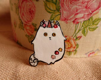 Cat unicorn pin, Unicorn Cat, Cat Pin, Unicat pin, Caticorn pin, Mutant Cat, Mutant Unicorn, Unicorn cat jewelry, cat lover jewelry, cat pin