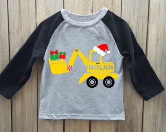 Boys Christmas shirt, construction shirt, Christmas shirt, toddler christmas shirt boys christmas onesie, kids christmas shirt, excavator