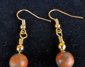 Orange Coral & Zinc Earrings