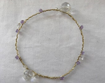 Gold Wire Wrapped Stackable Dainty Bracelet with Clear and Lilac Crystals