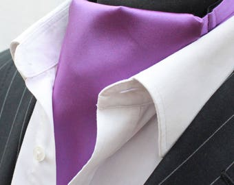 Cravat Ascot.100% Silk Front. UK Made. Damson Satin Silk + matching hanky.