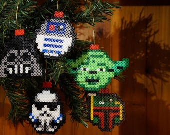 Star Wars, Boba Fett, Darth Vader, R2D2, Stormtrooper, Yoda, Perler Bead, Christmas Baubles, Disney, 8 Bit, Gamer Gifts