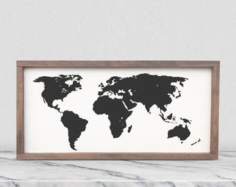 Framed world map etsy world map framed wooden sign world map art customizable farmhouse style sign gumiabroncs Image collections