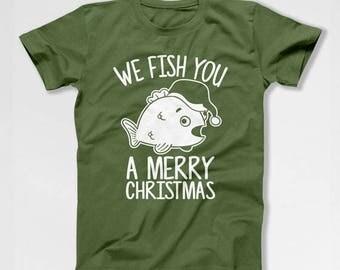 Funny Xmas T Shirt Fishing Gifts For Fishermen Holiday TShirt Xmas Present Christmas Present Ideas Holiday Clothing Xmas Clothes TEP-534