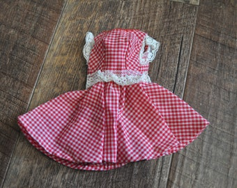 Vintage Barbie Clothes - Red Checkered Country Dress